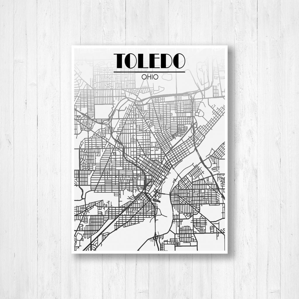 Toledo Ohio Street Map Fading Map Toledo Street Map City | Etsy - Printable Map Of Toledo Ohio