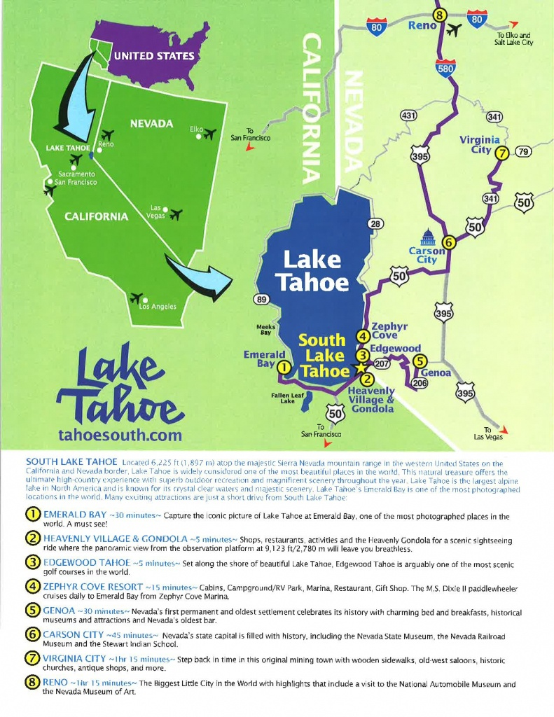 Tool Kit - Lake Tahoe Visitors Authority - South Lake Tahoe California Map