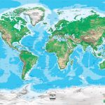 Topographic World Wall Map   Miller Projection   Printable Topo Maps Online