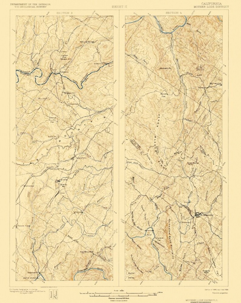 Topographical Map - Mother Lode District California 1 Of 2 - 1899 - California Mother Lode Map