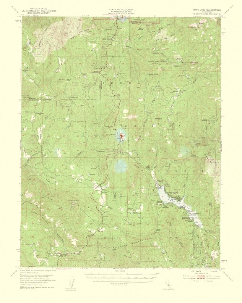 Topographical Map Print - Bass Lake California Quad - Usgs 1959 - 23 - Bass Lake California Map