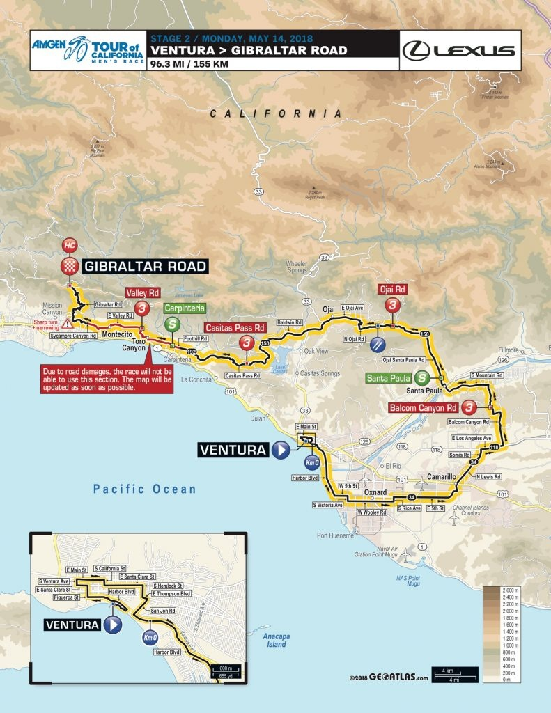 Tour-Of-California-2018-Stage-2-Map-D7B1C6Bb36 - Cyclismepro - Tour Of California 2018 Map