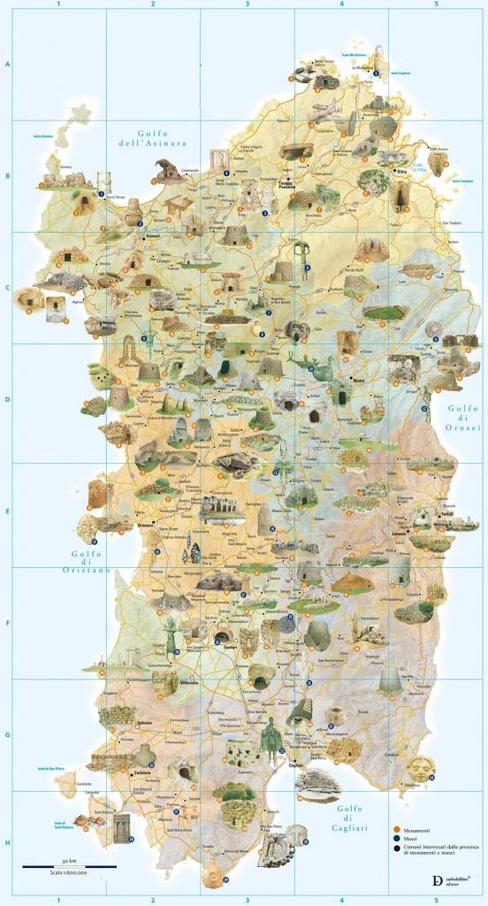 Tourist And Archaeology Map Of Sardinia Large Map   Interesting Maps - Printable Map Of Sardinia