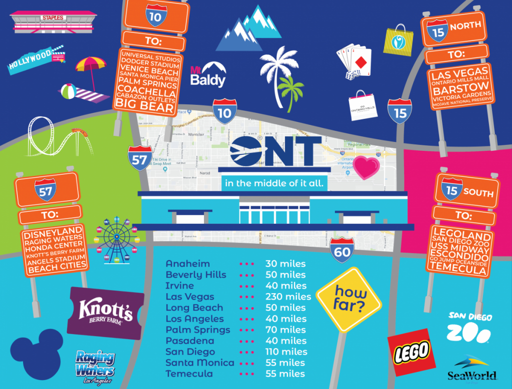 Tourist Attractions | Ontario International Airport - Southern California Attractions Map