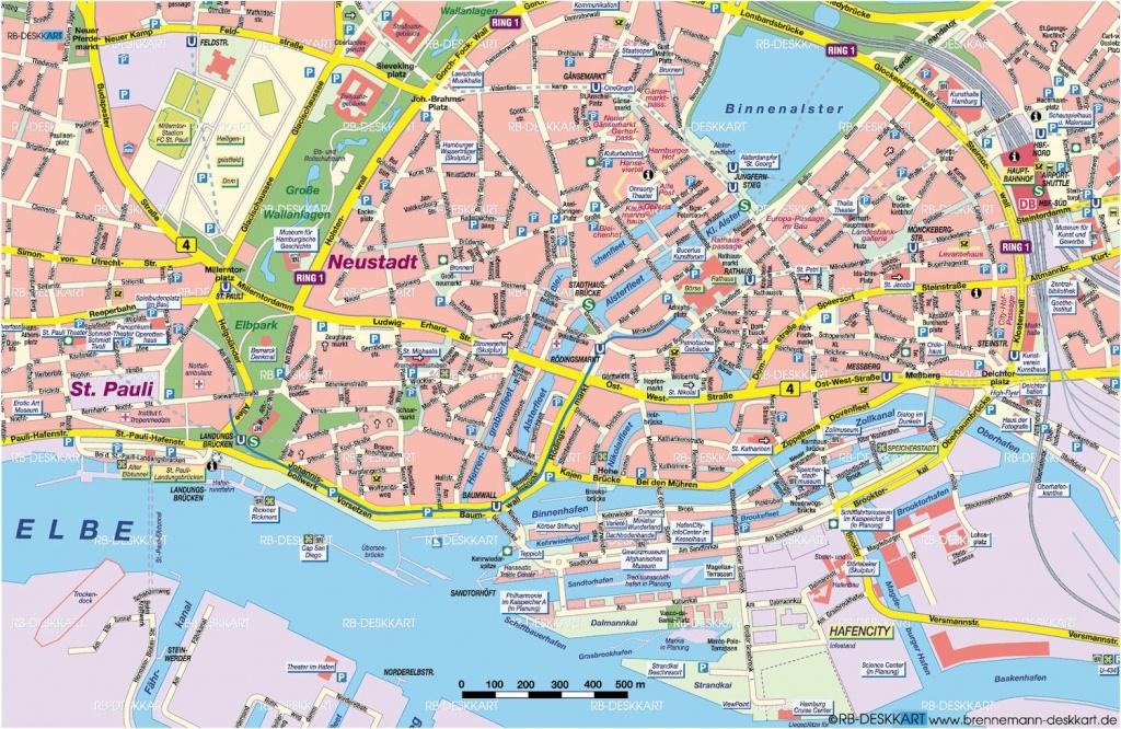 Tourist Map Hamburg   City Maps - Printable Map Of Hamburg