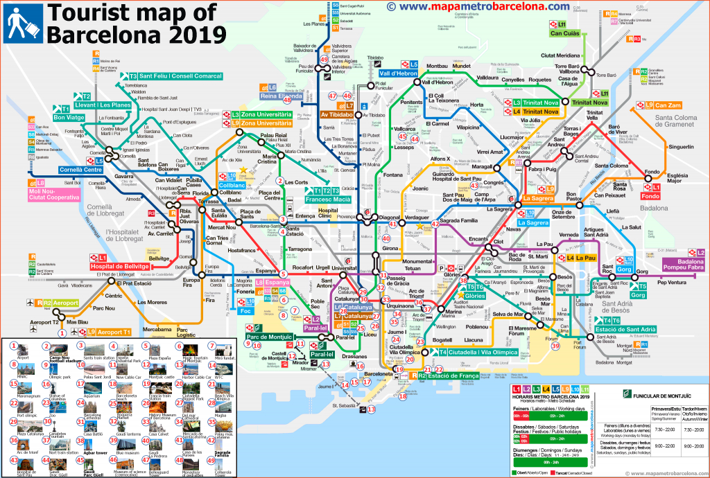 Tourist Map Of Barcelona, 49 Important Places For Tourists. - Barcelona Tourist Map Printable