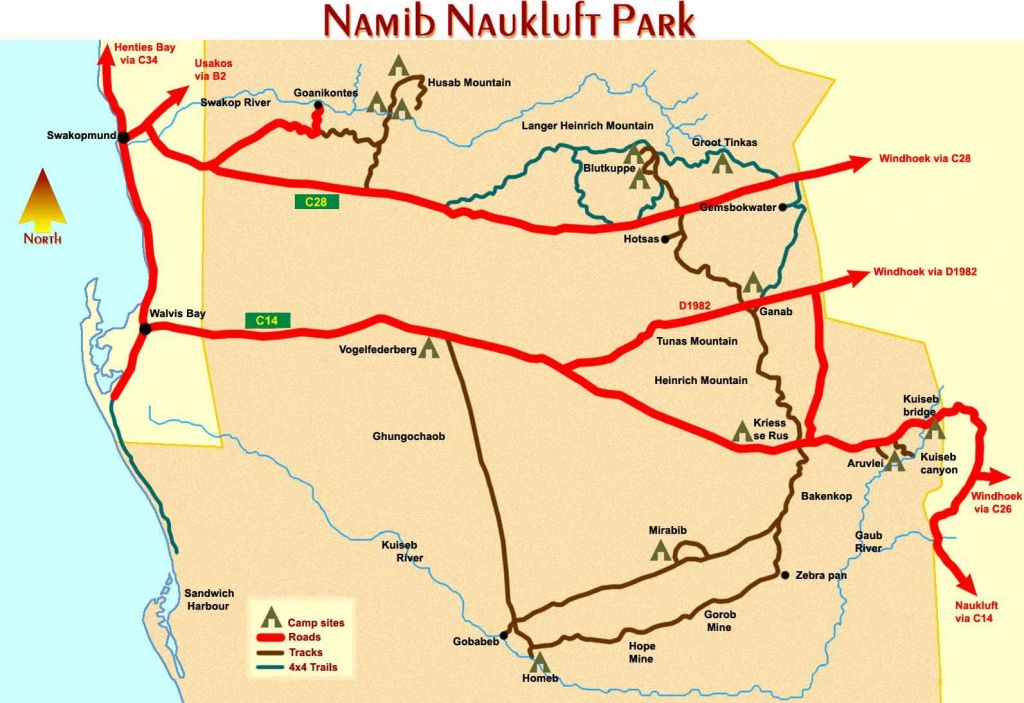 Tourist Maps Of Namibia - Printable Road Map Of Namibia