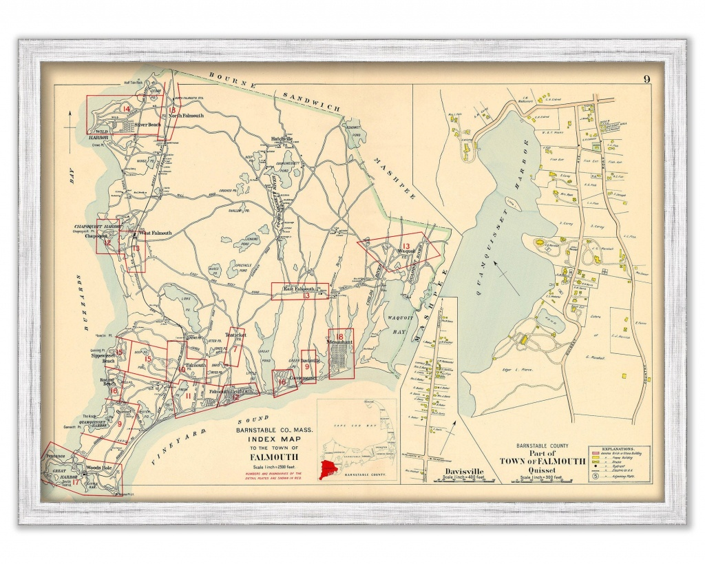 Town Of Falmouth Massachusetts 1910 | Etsy - Printable Map Of Falmouth Ma
