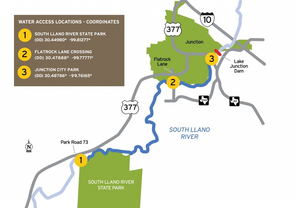 Tpwd: South Llano Paddling Trail | | Texas Paddling Trails - Junction Texas Map