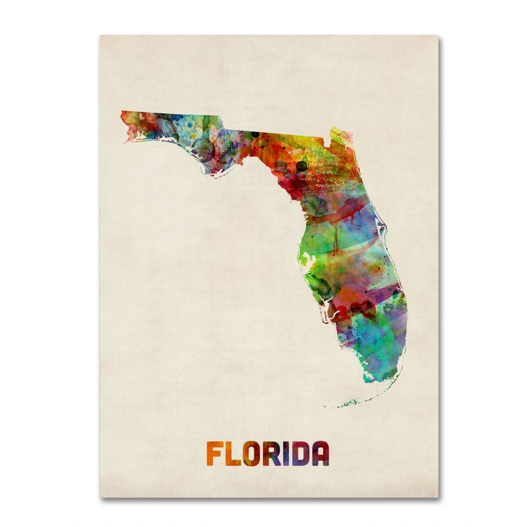 Trademark Art 'florida Map'michael Tompsett Framed Graphic Art - Florida Map Art