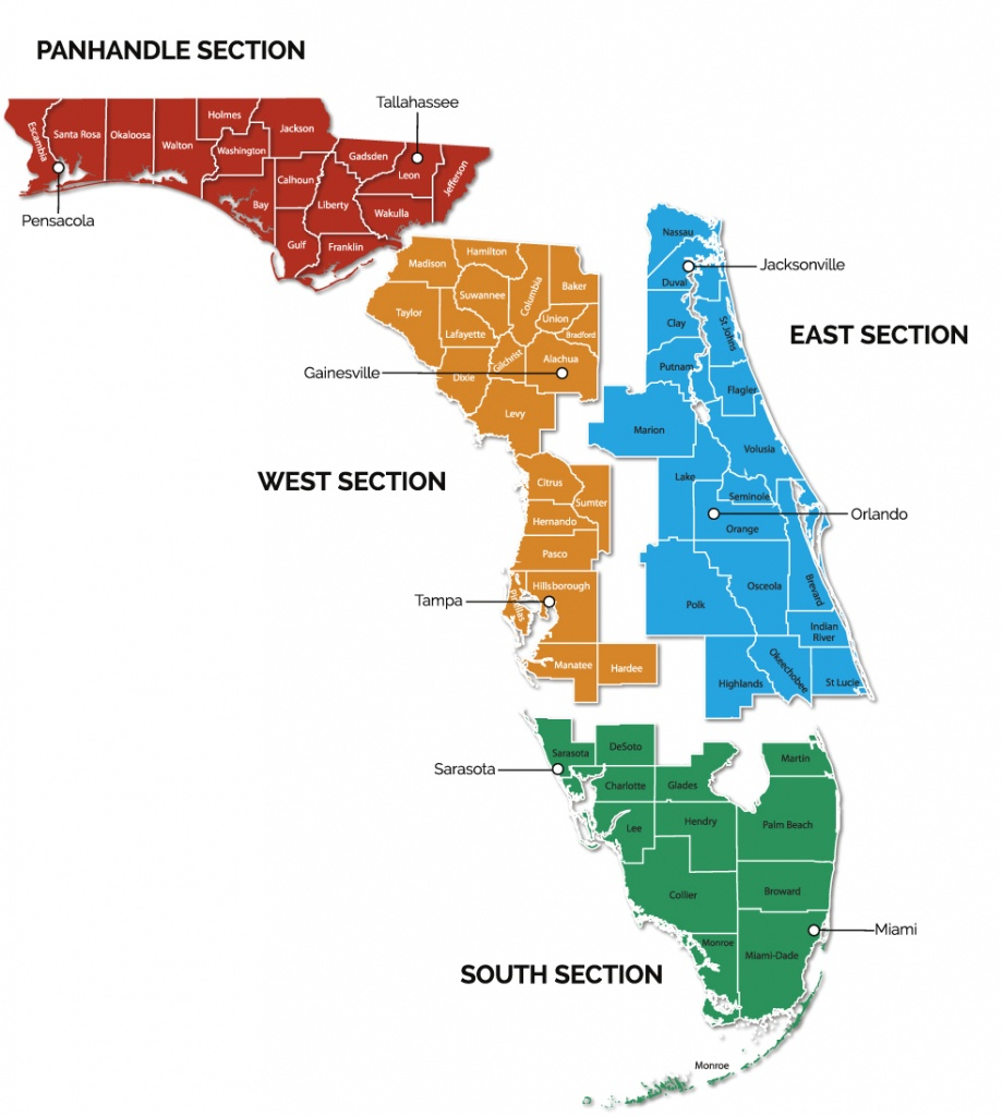 Trail Sections | Gfbwt - Great Florida Birding Trail Map