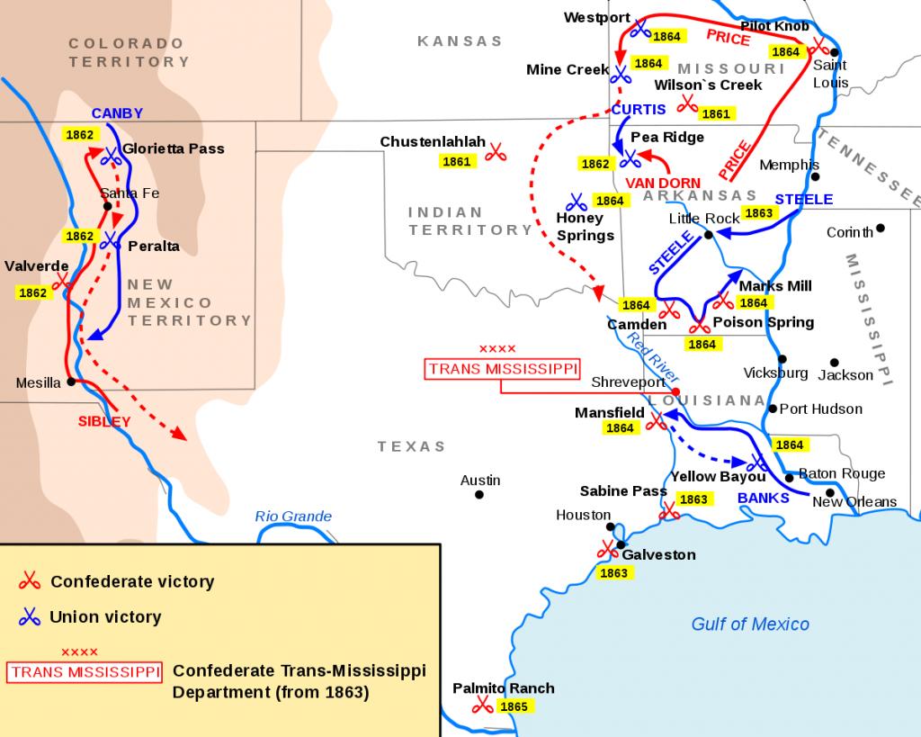 Trans-Mississippi Theater Of The American Civil War - Wikipedia - Texas Civil War Map