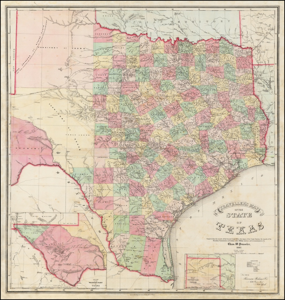 Traveller's Map Of The State Of Texas Compiled From The Records Of - Texas Survey Maps