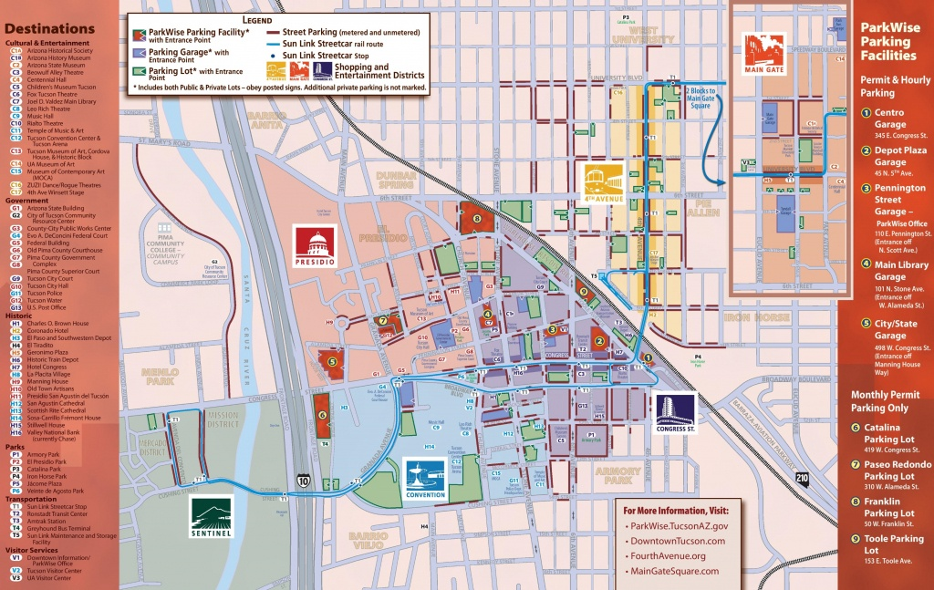 Tucson Maps   Arizona, U.s.   Maps Of Tucson - Printable Map Of Tucson Az