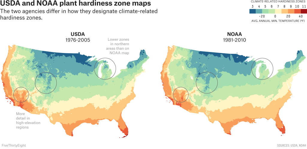Two Government Agencies. Two Different Climate Maps.   Fivethirtyeight - Texas Planting Zones Map