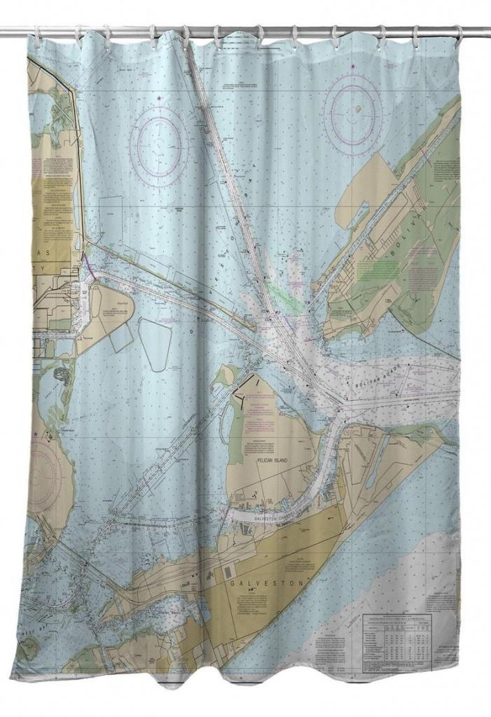 Tx: Galveston Tx Nautical Chart Shower Curtain Map Shower | Etsy - Texas Map Shower Curtain