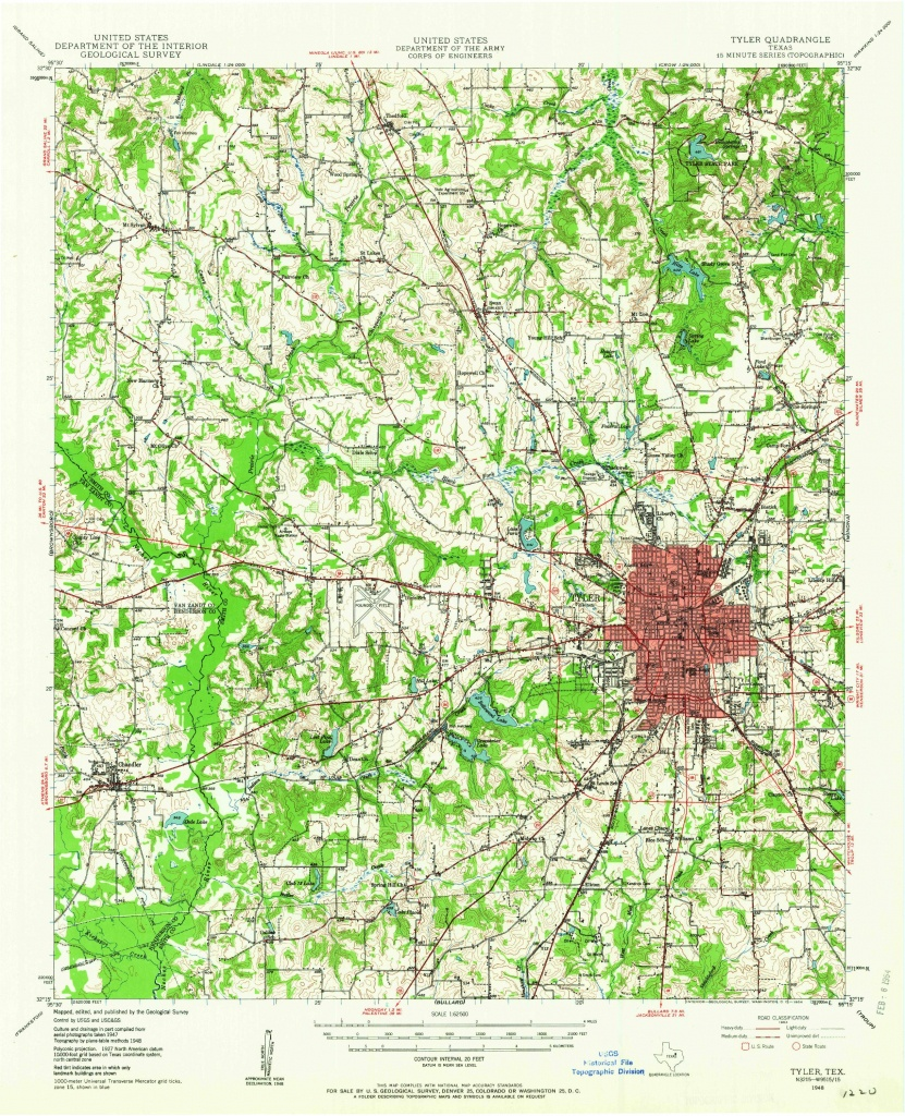 Tyler, Tx—1948. Map From The Usgs Historical Topographic Map - Texas Topo Map
