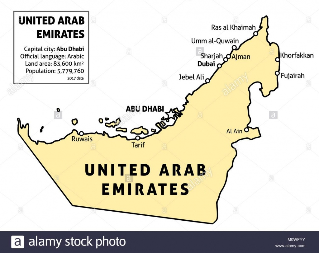 Uae Map Stock Photos & Uae Map Stock Images - Alamy - Outline Map Of Uae Printable
