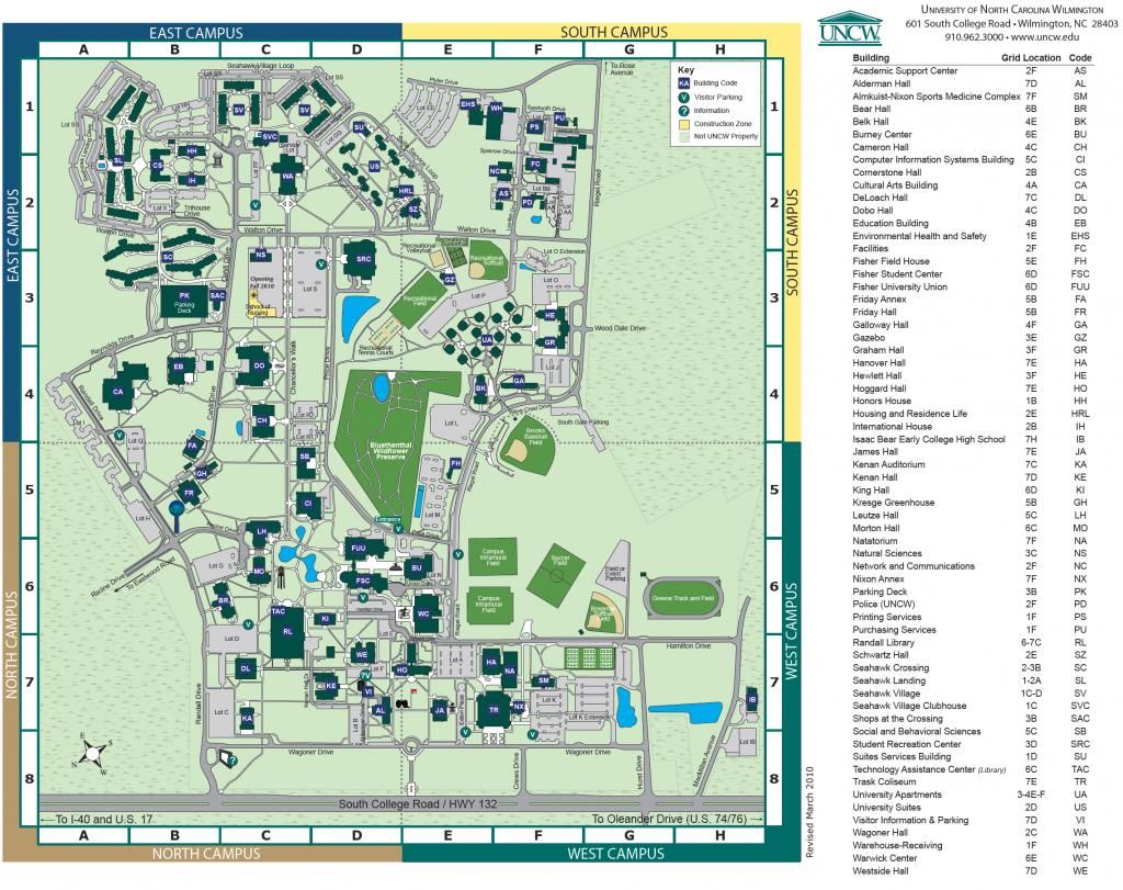 Unc Wilmington Campus Map | Autobedrijfmaatje - Duke University Campus Map Printable