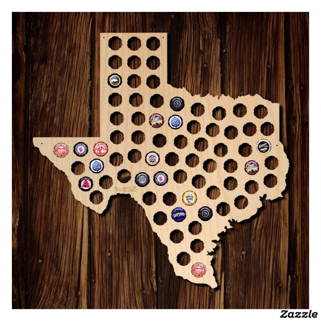 Unique Texas State Wooden Beer Bottle Cap Map   Zazzle   A Cave - Texas Beer Cap Map