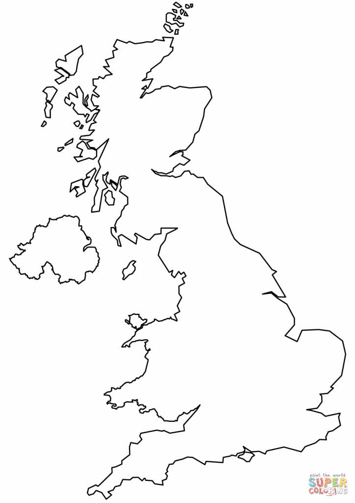 United Kingdom Blank Outline Map Coloring Page   Free Printable - Uk Map Outline Printable