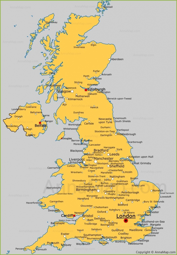 United Kingdom Cities Map | Cities And Towns In Uk - Annamap - Printable Map Of England With Towns And Cities
