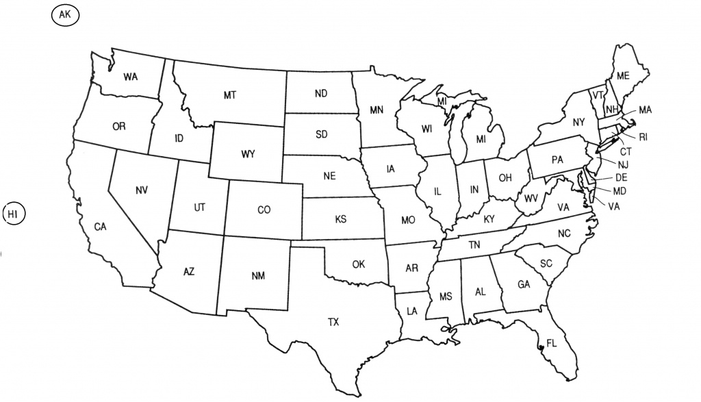 United States Abbreviation Map And Travel Information | Download - Printable State Abbreviations Map