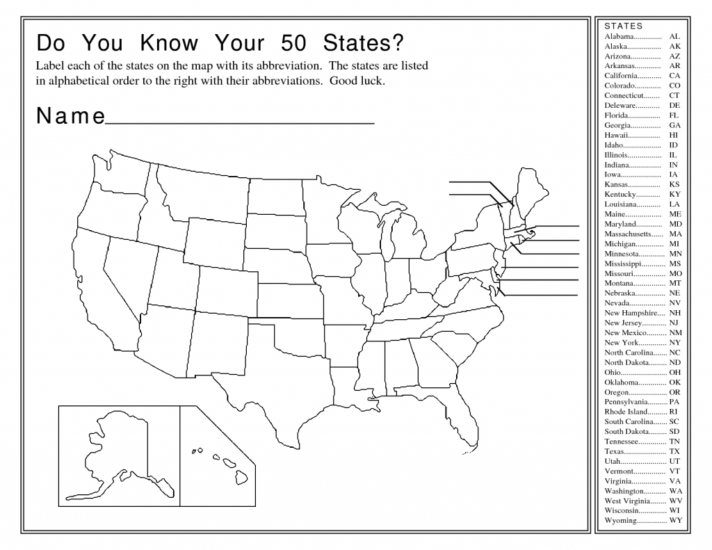 United States Map Activity Worksheet   Social Studies   Map Quiz - States And Capitals Map Quiz Printable