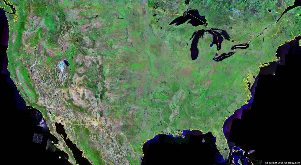 United States Map And Satellite Image - Google Satellite Map Of Texas