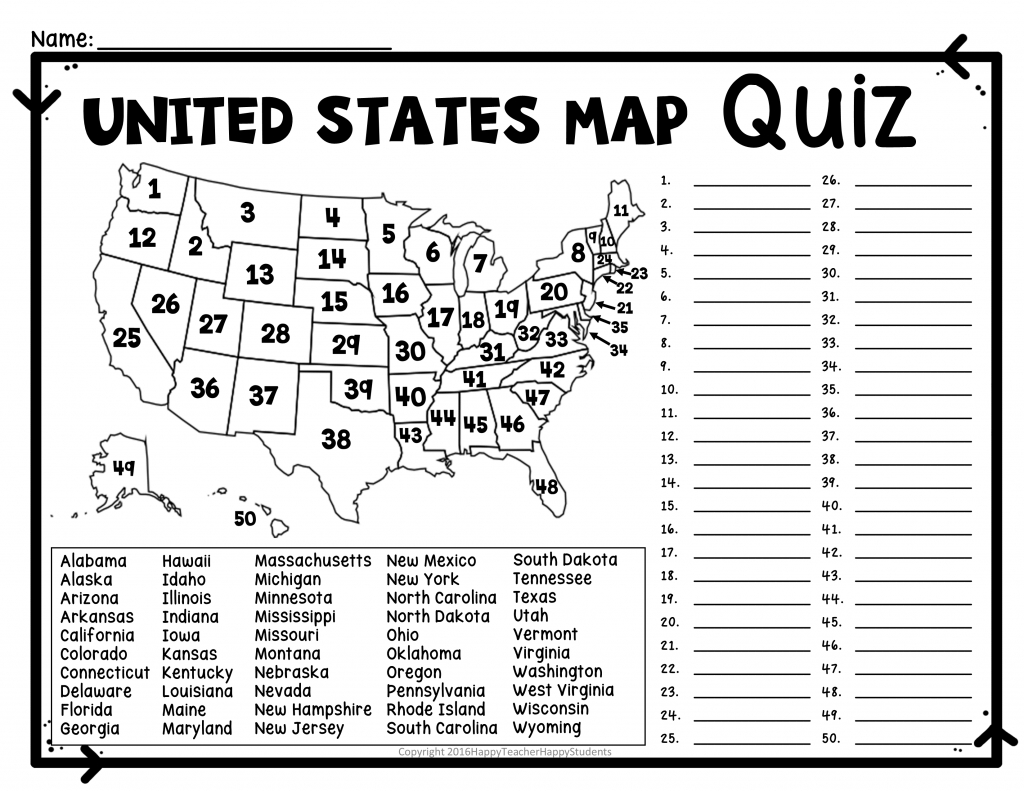 United States Map Quiz & Worksheet: Usa Map Test With Practice - Printable States And Capitals Map