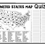United States Map Quiz & Worksheet: Usa Map Test With Practice   States And Capitals Map Test Printable
