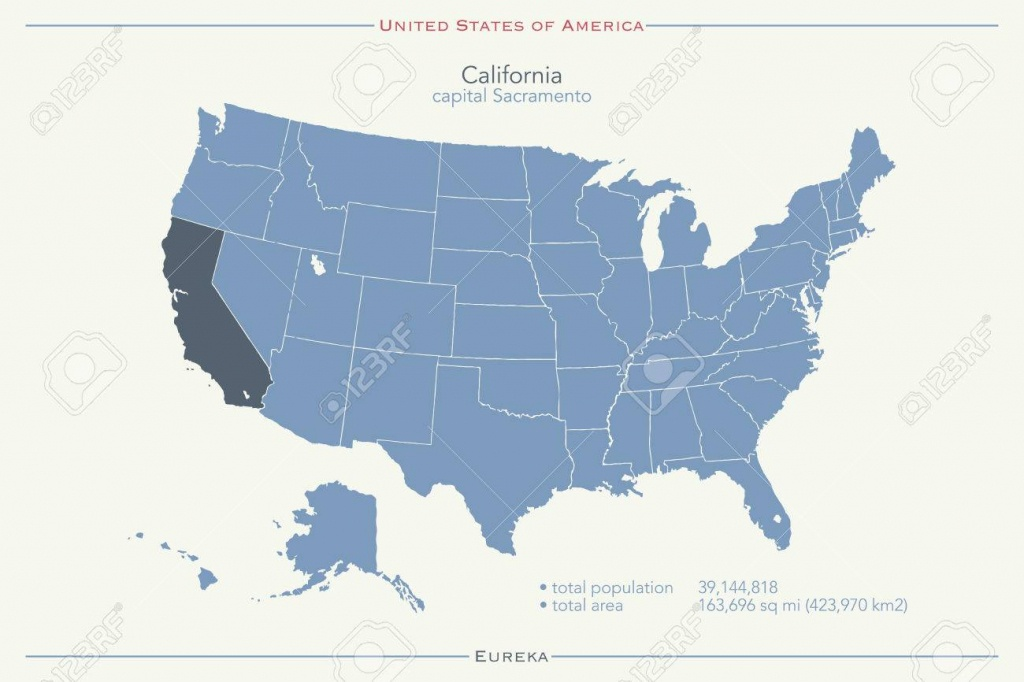 United States Of America Isolated Map And California State Territory - California Territory Map