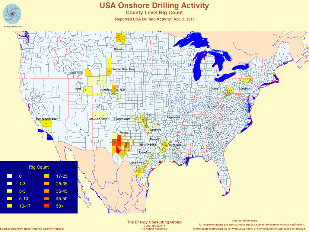 United States Oil And Gas Drilling Activity - Map Of Drilling Rigs In Texas