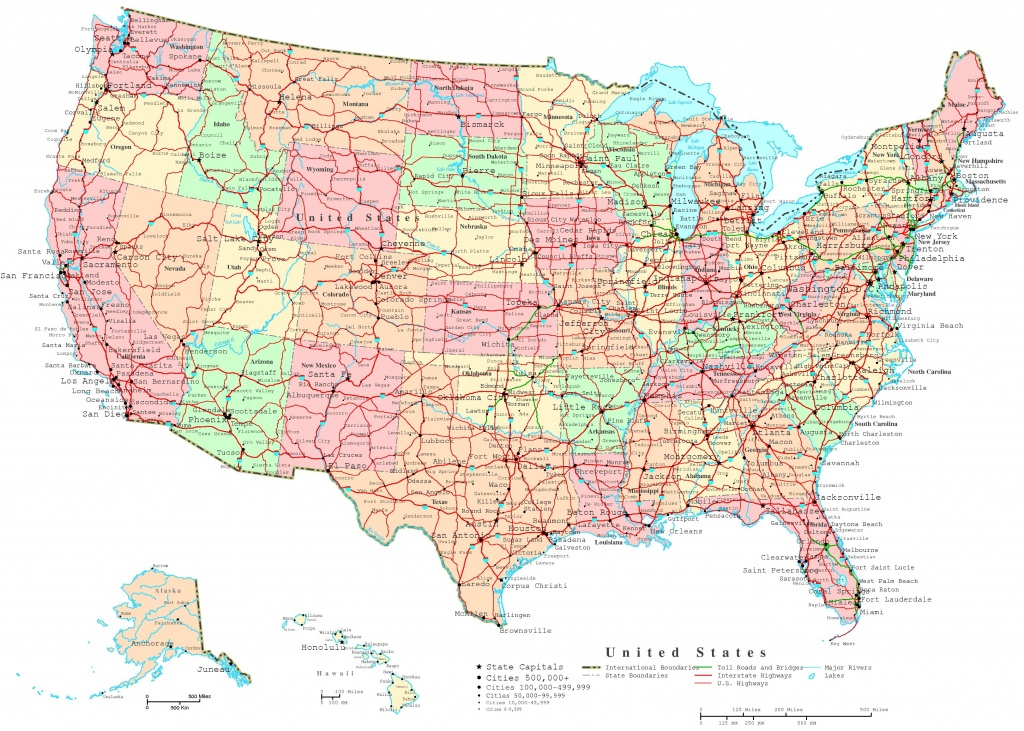 United States Printable Map - Us Map With Cities And States Printable