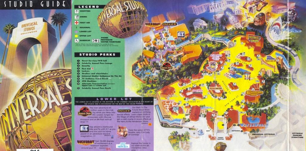 Universal Studios Hollywood | Universal Studios Hollywood – 1996 Map - Universal Studios California Map Of Park