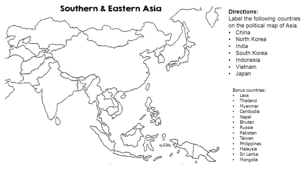 Unlabeled Map Of Asia Blank Printable And Maps 1024×793 | D1Softball - Blank Map Of Asia Printable