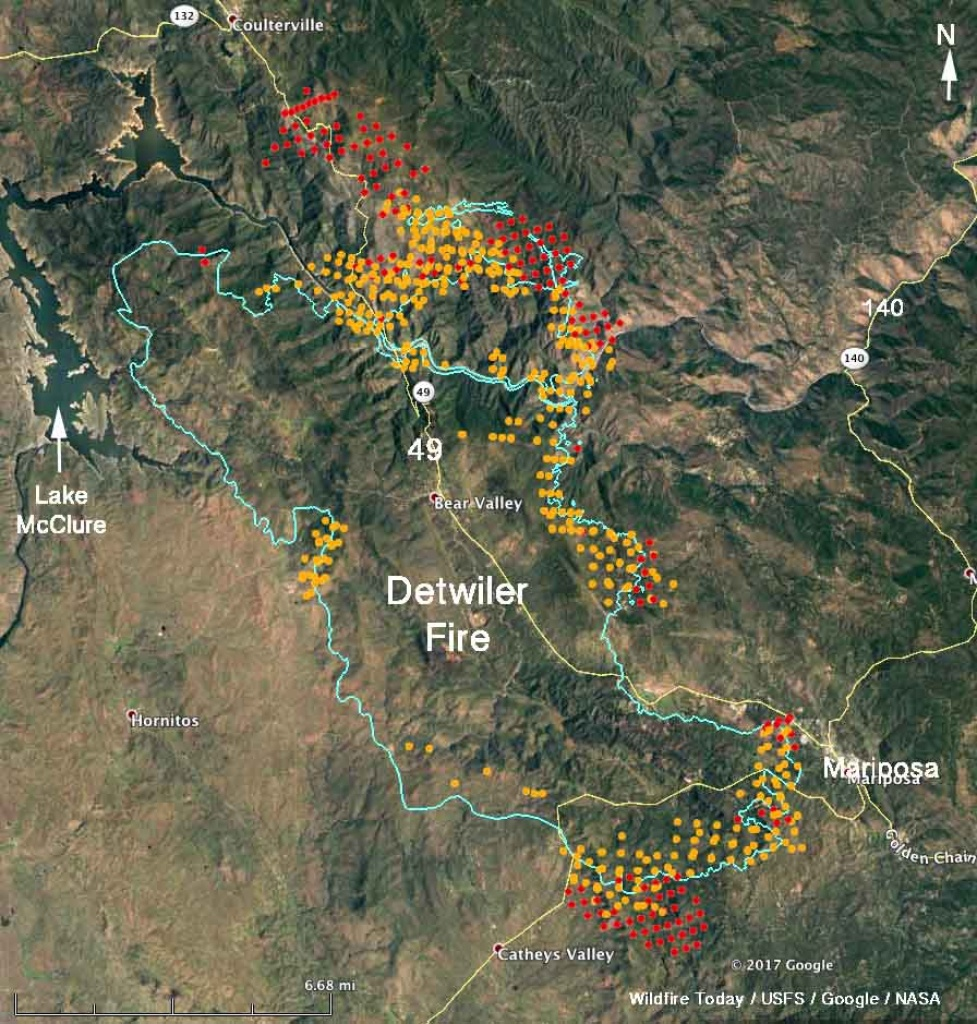 Updated Map Of Detwiler Fire Near Mariposa, Ca - Wednesday Afternoon - California Fires Update Map