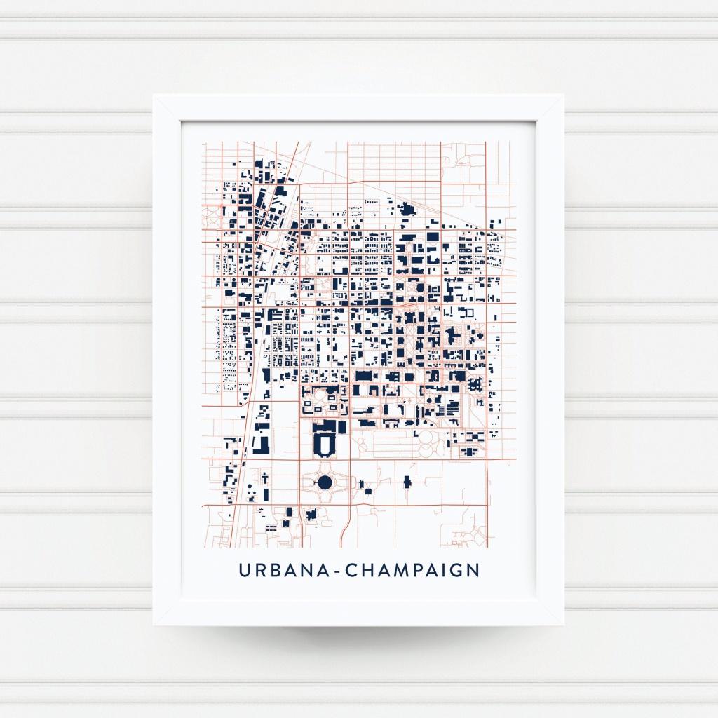 Urbana-Champaign Il Map Print / University Of Illinois Gift /   Etsy - Printable Map Of Champaign Il