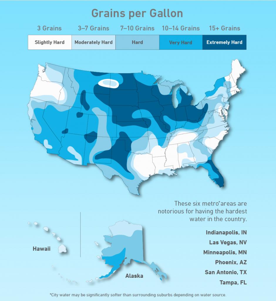 Us Hard Water Map | Homewater 101 - Florida Water Hardness Map