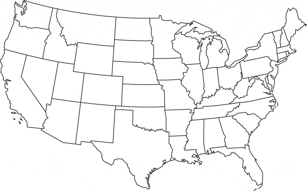 Us Map State Outlines Blank Printable Usa States Capitals Map Names - Printable Usa Map Blank