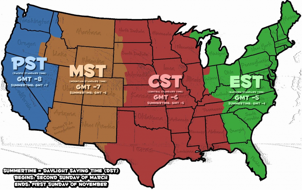 Us Map Time Zones Printable Time Zones Awesome Us Map States - Printable Time Zone Map Usa With States