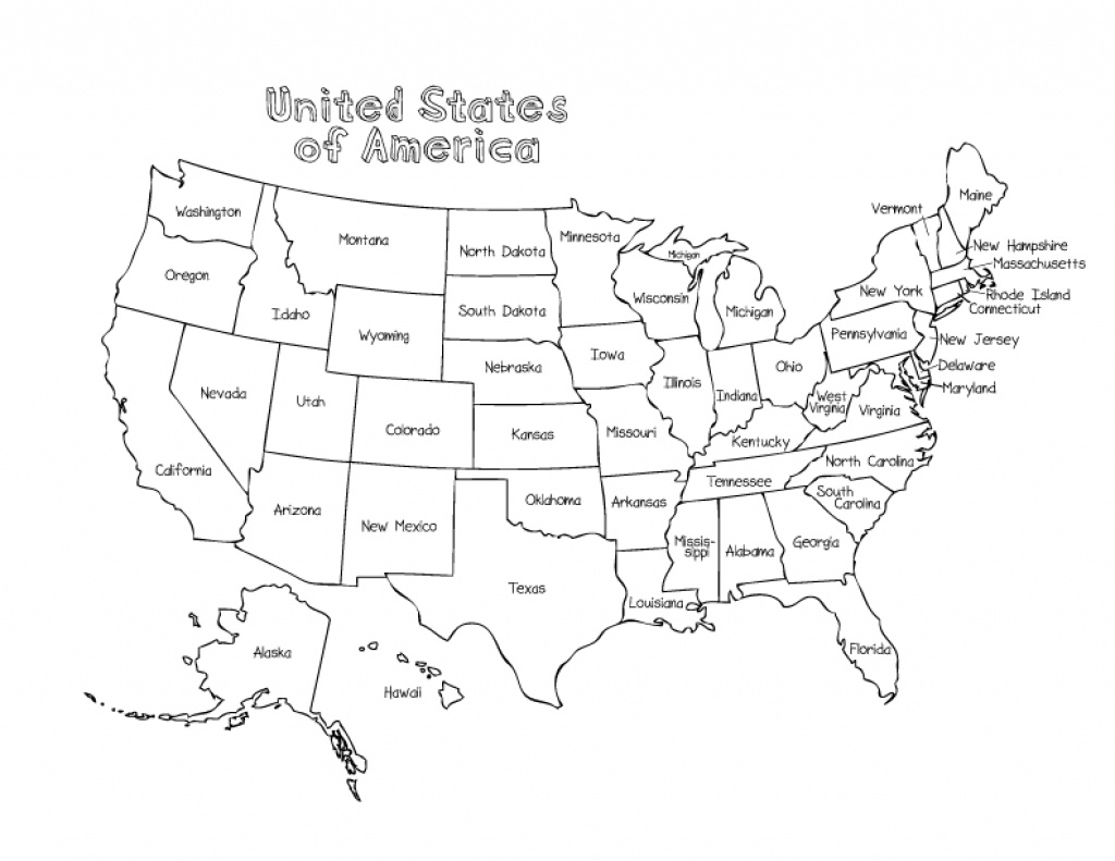 Us Map Without State Names Printable Coloring Map Us And Canada - United States Color Map Printable