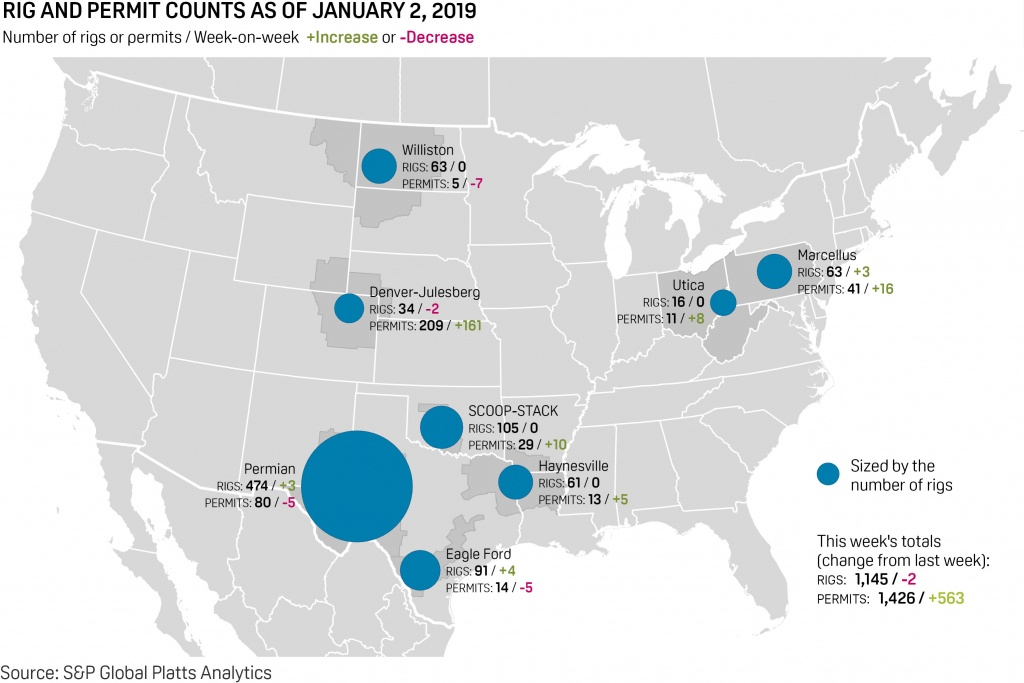 Us Rigs Droptwo, Gas Rigs Post Gains | S&p Global Platts - Texas Rig Count Map