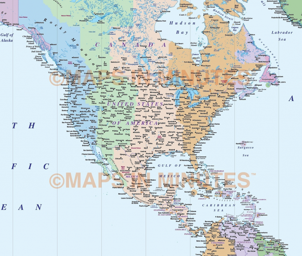 Us Time Zone Map With Cities Detailed North America Zones At Best - Printable North America Time Zone Map