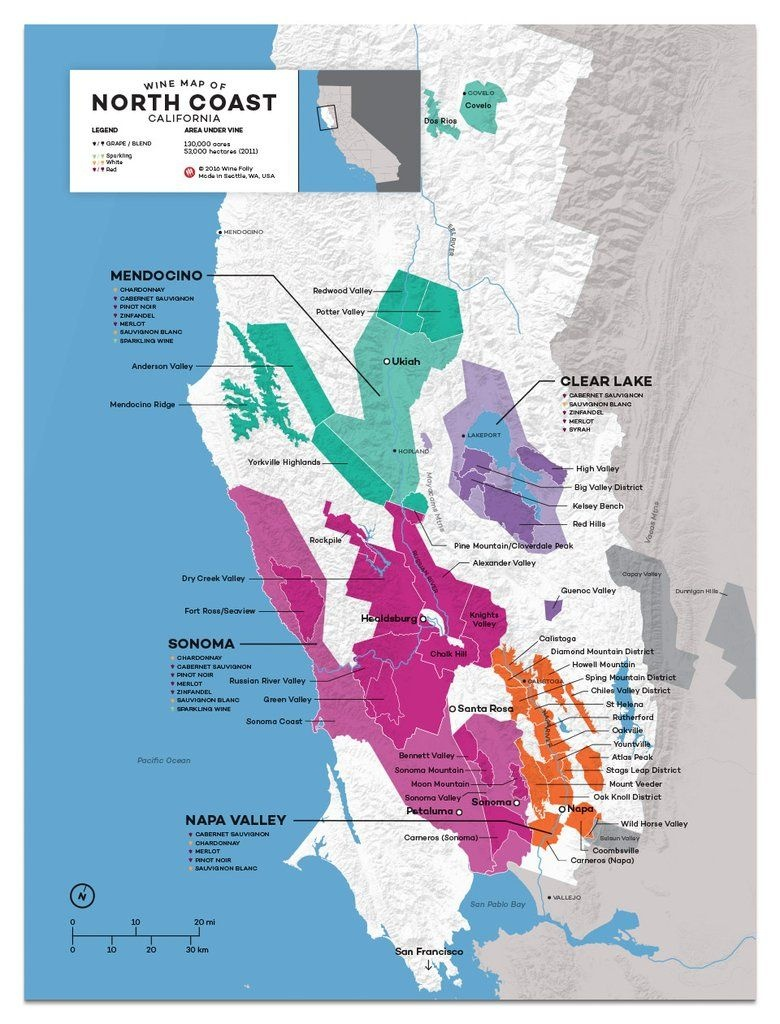 Usa: California, North Coast Wine Map In 2019 | Drinks | Wine Folly - Where Is Yountville California On The Map