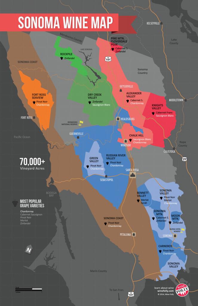 Usa: California, North Coast Wine Map In 2019   Wine Guides - California Wine Tours Map