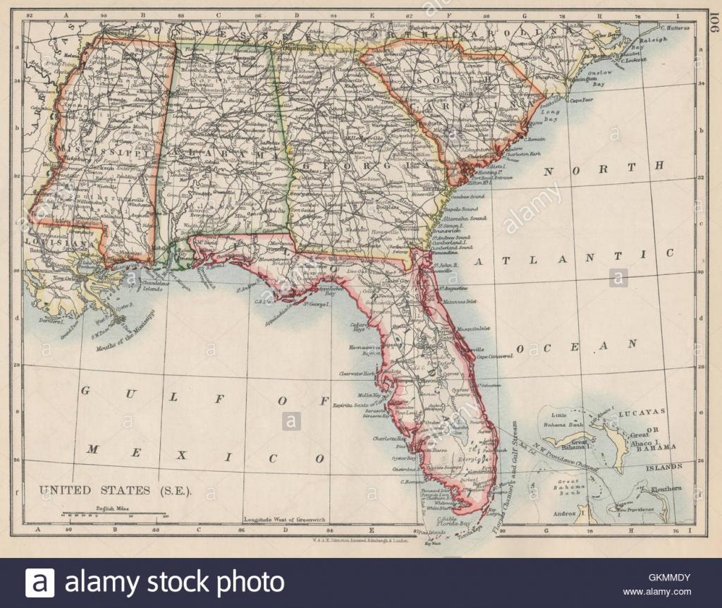 Usa Grand Sud. Caroline Du Sud Floride Géorgie Alabama Mississippi - Mississippi Florida Map