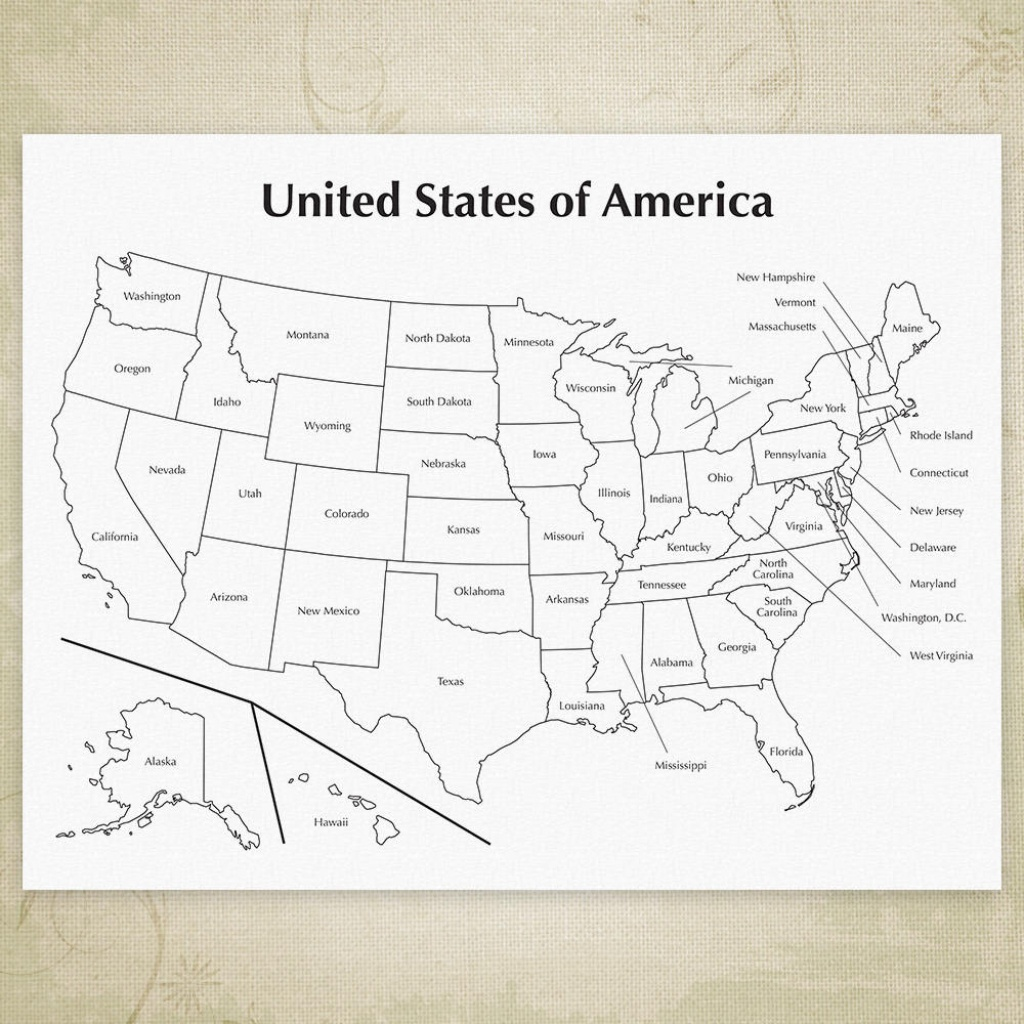 Usa Printable Map United States Of America Map Cha Ching | Etsy - Printable Map Of The United States Of America