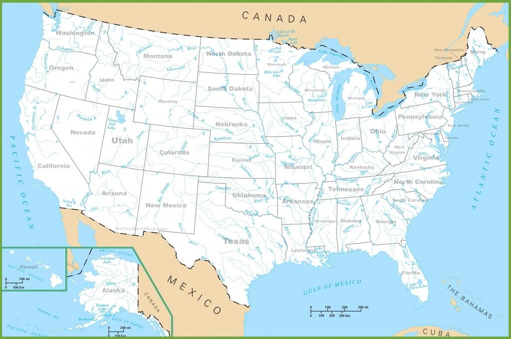 Usa Rivers And Lakes Map - Us Rivers Map Printable