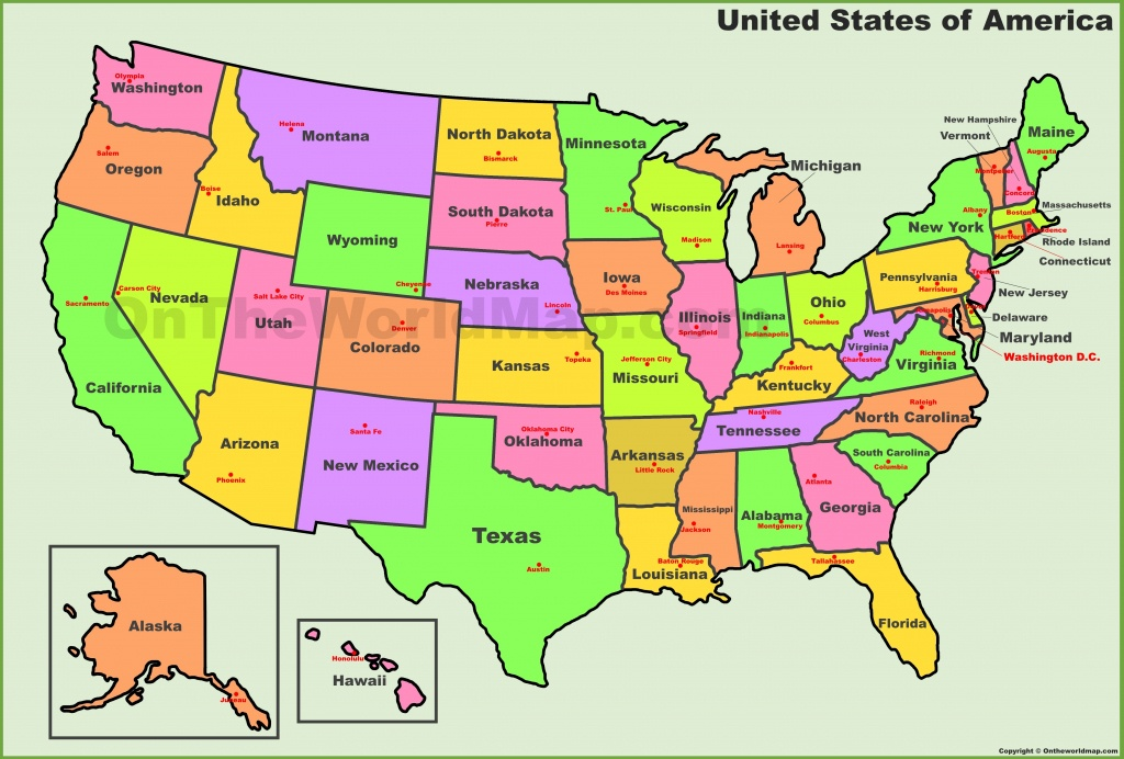 Usa States And Capitals Map - Free Printable Us Maps State And City
